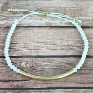 Jewelry - IT'S HERE! Goldtone Bar and White Faceted Bead